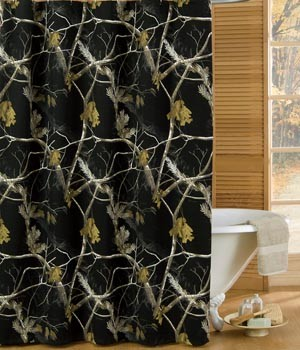 AP Black and White Camouflage Shower Curtain Set