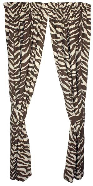 Brown Zebra Print Designer Window Curtains