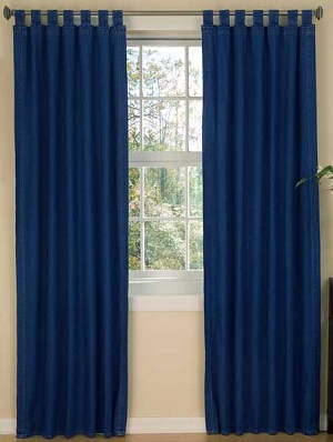 American Denim Designer Tab Top Window Curtains