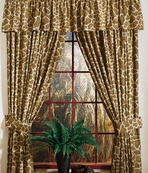 Giraffe African Designer Window Curtains