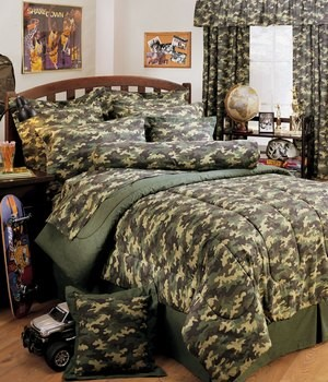 Camouflage Queen Size Sheet Set Green Camo