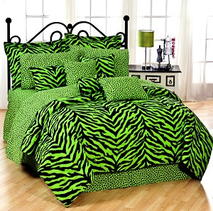 Lime Green Zebra Print Comforter and Bedding