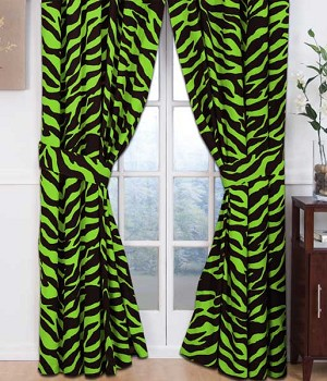 Lime Green Zebra Print Designer Window Curtains