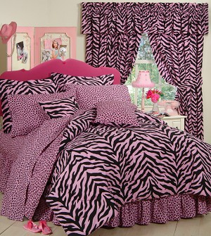 Pink Zebra Print Comforter and Bedding