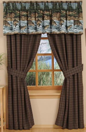 River Fishing Designer Window Curtains