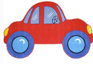 "Red Car Rug 39"" X 58"""