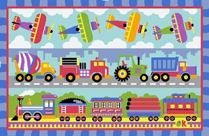 "Planes, Trains, And Trucks Rug 39"" X 58"""