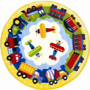 Trains, Planes, And Trucks Round Rug 39""