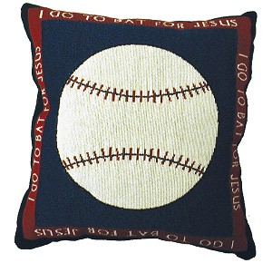Baseball Throw Pillow Pair I Go To Bat For Jesus