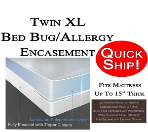Quick Ship! Twin XL Size Allergy and Bed Bug Protection Encasement