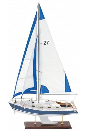 Small Blue And White Model Sailboat