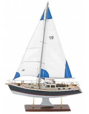 Medium Blue And White Model Sailboat