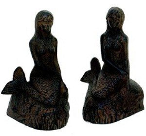 Mermaid With Rust Finish Bookend Set