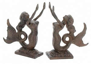 Cast Iron Mermaid Bookend Set With Rust Finish