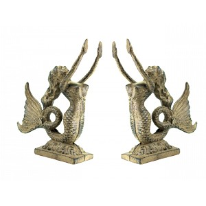 Cast Iron Mermaid Bookend Set With Gold Finish
