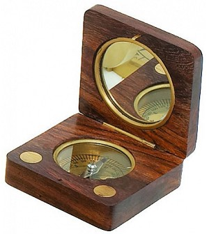 Wood And Brass Compass