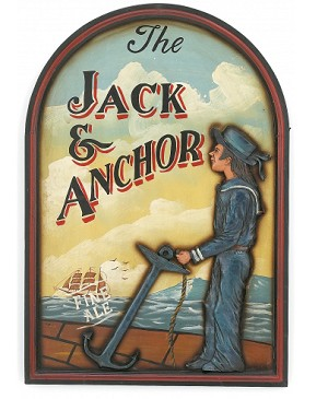 Jack And Anchor Wood Pub Sign