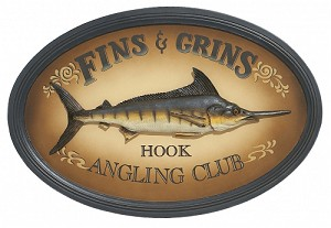 Fins And Grins Wood Pub Sign