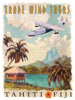 Trade Wind Tours Fiji Airplane Vintage Tin Sign