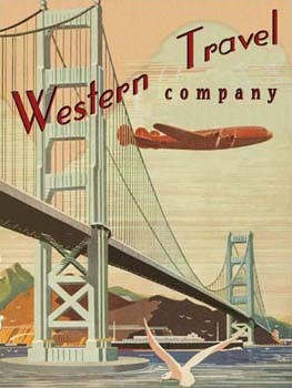 Western Travel Company Airplane Vintage Tin Sign