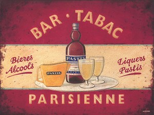 Bar Tabac Parisienne Alcohol Vintage Metal Sign