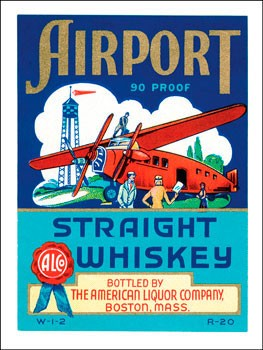 Airport Straight Whiskey Vintage Metal Sign