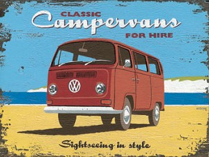 Camper For Hire Vintage Metal Sign