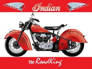 Indian The RoadKing Motorcycle Vintage Tin Sign