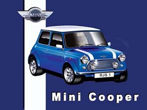 Mini Cooper Blue Vintage Tin Sign