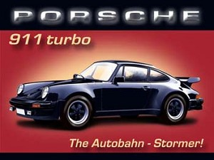 Porsche 911 Turbo The Autobahn Stormer Vintage Tin Sign