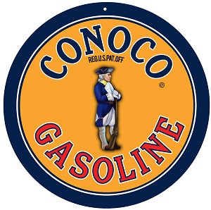 "Conoco Gas 14"" round Metal Sign"