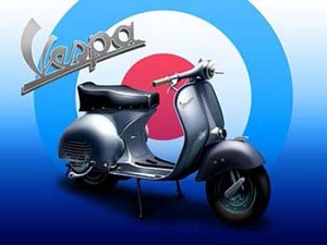 Vespa 2 Scooter Vintage Tin Sign
