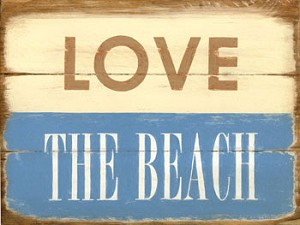 Love The Beach Large Vintage Metal Sign