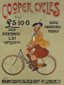 Cooper Cycles Vintage Tin Sign