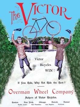 The Victor Bicycle Overman Wheel Company Tin Sign