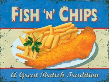 Fish and Chips Vintage Metal Sign