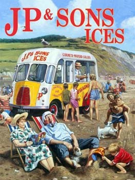 JP & Sons Ices Vintage Tin Sign