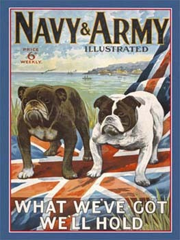 Navy and Army Illustrated Vintage Tin Sign