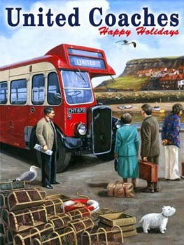 United Coaches Happy Holidays Vintage Tin Sign