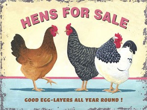 Hen's For Sale Vintage Metal Sign