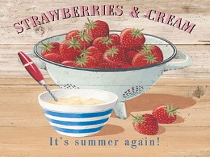 Strawberries & Cream Vintage Metal Sign