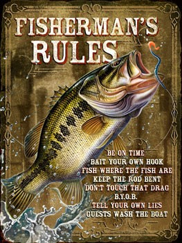 Fisherman's Rules Vintage Metal Sign