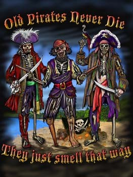 Old Pirates Never Die Tin Sign