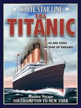 White Star Line R.M.S. Titanic Vintage Tin Sign