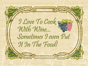 I Cook With Wine Vintage Metal Sign