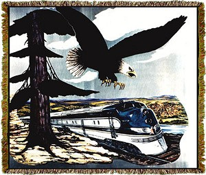 UP Missouri River Eagle Train Railroad Tapestry