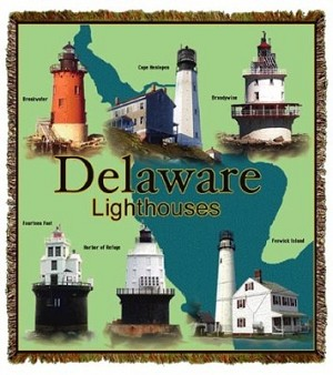 Delaware Bay Lights Tapestry