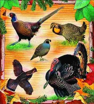Lodge Ground Birds Tapestry