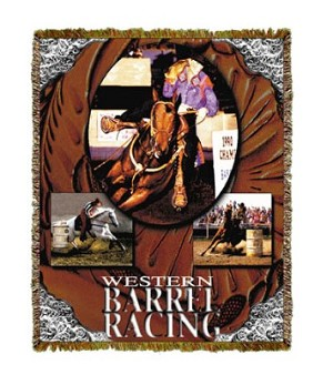 Horse Western Barrel Racing Tapestry