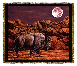 Native American Buffalo Moon Rising Tapestry
